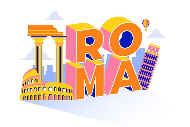 City lettering roma with main attractions Free Vector