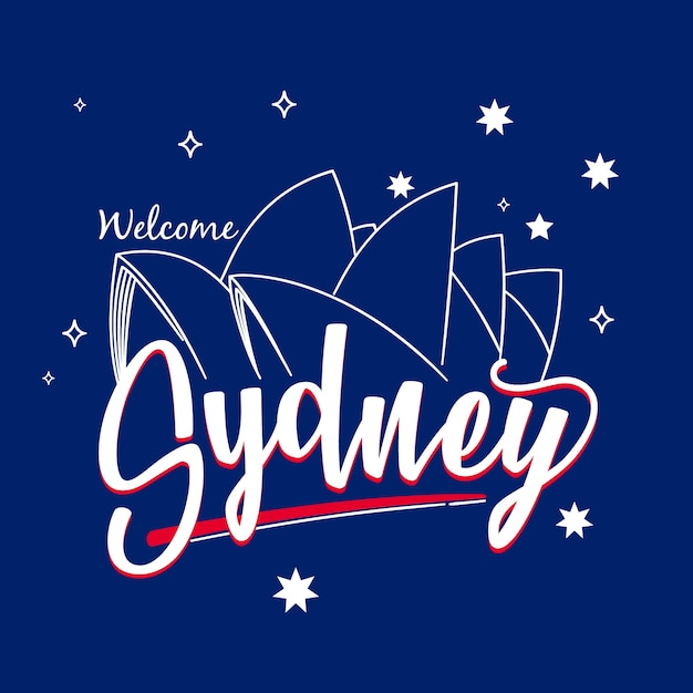 City lettering of sydney with opera house Free Vector