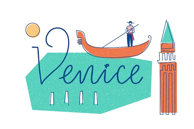 City lettering venice concept Free Vector