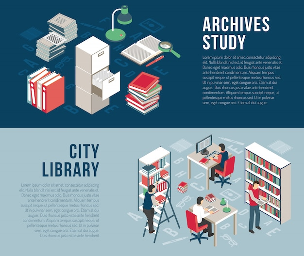 City library archives  2 isometric banners Free Vector