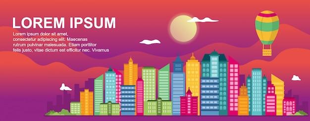 City life concept cityscape landmark horizontal illustration template Premium Vector