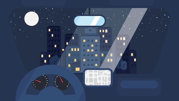 City life from car Premium Vector