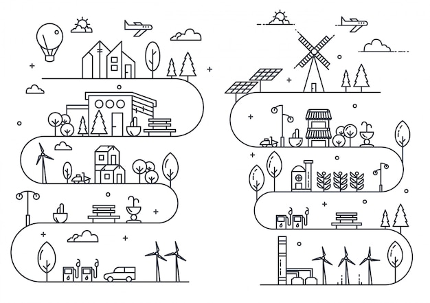 City life illustration with thin line style Premium Vector