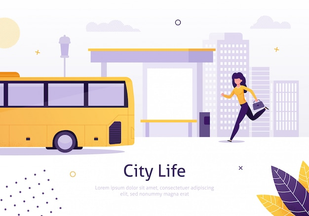 City life with girl running for bus near stop. Premium Vector