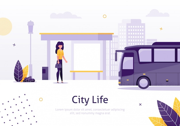 City life with girl standing in bus stop banner. Premium Vector