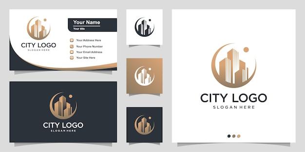 Городской логотип с концепцией современного круга и визитной карточкой Premium векторы