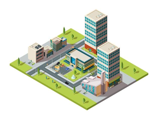 Городской торговый центр. городской изометрический пейзаж с большим современным зданием торгового гипермаркета карта торгового центра Premium векторы