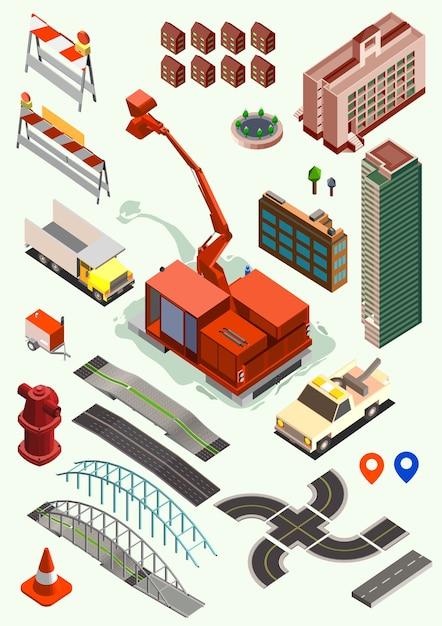 Коллекция изометрических элементов конструктора карты города Premium векторы