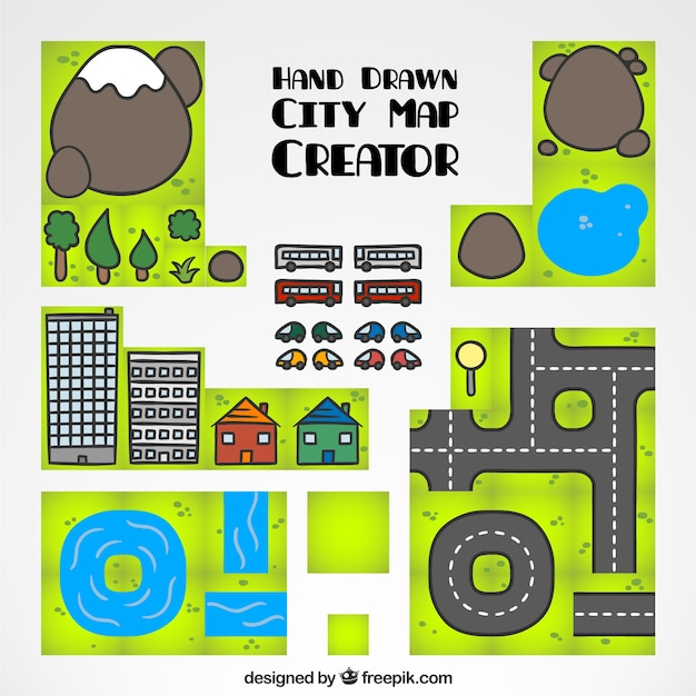 City map creator hand drawn vector free download for Map designer free