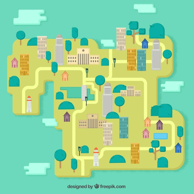 City map in flat design vector free download city map in flat design free vector gumiabroncs Image collections