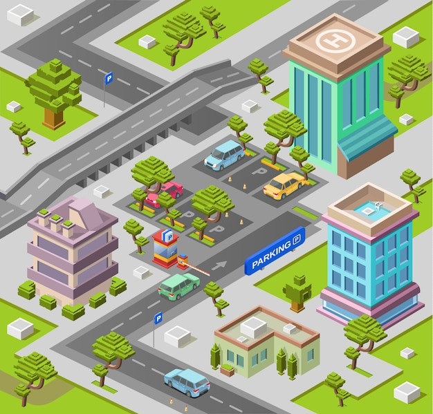 City map for parking lot or map with office and residential buildings Premium Vector