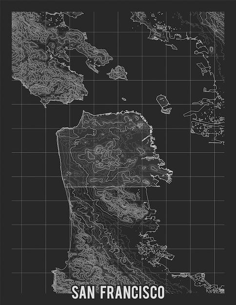 Mappa della città di san francisco. Vettore gratuito