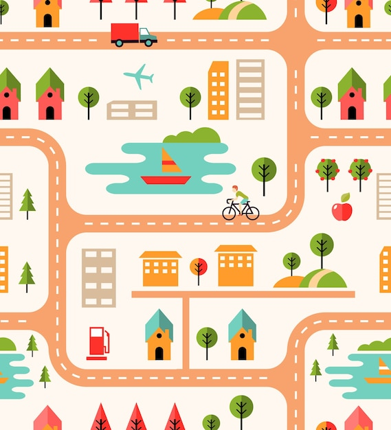City map seamless background pattern with streets Free Vector