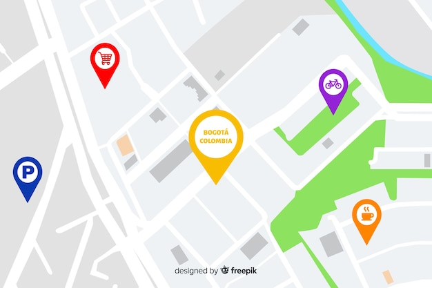 City map with navigation points Free Vector