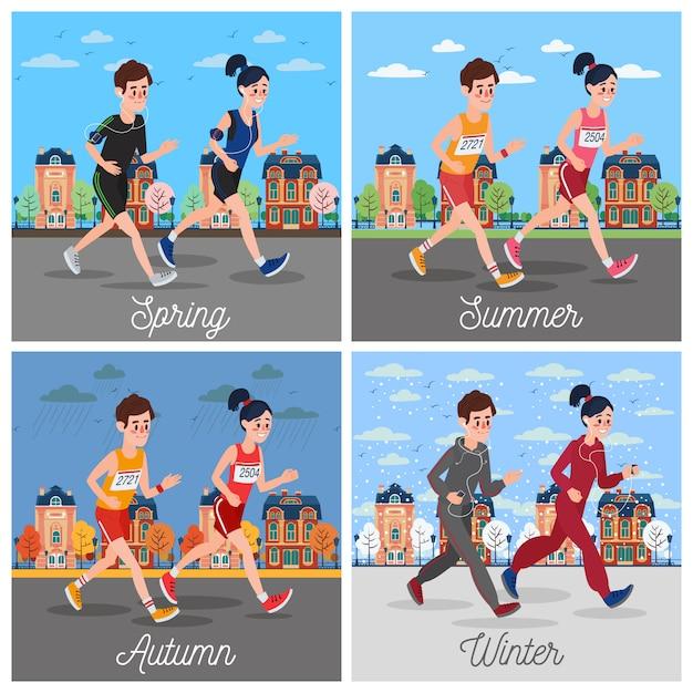 City marathon runners Premium Vector