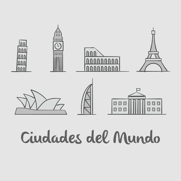 City monuments background