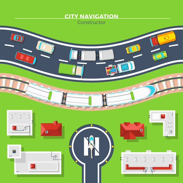 City navigation top view Free Vector