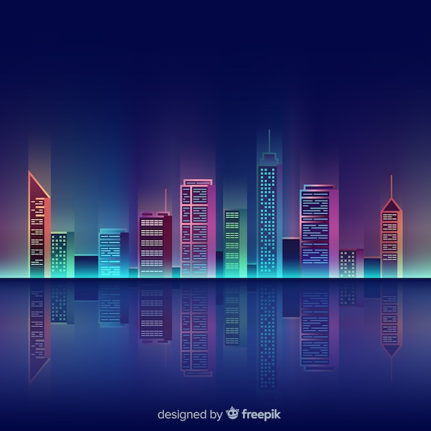 City neon background Free Vector