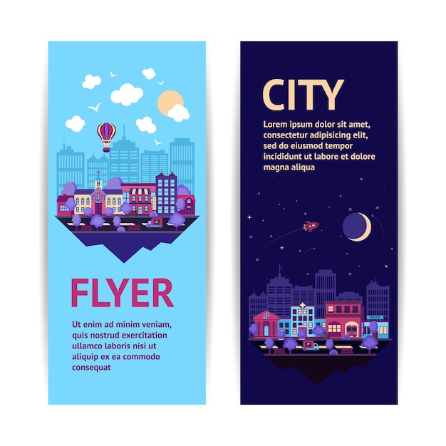 City night scape night and day town\ architecture vertical banner set isolated vector\ illustration