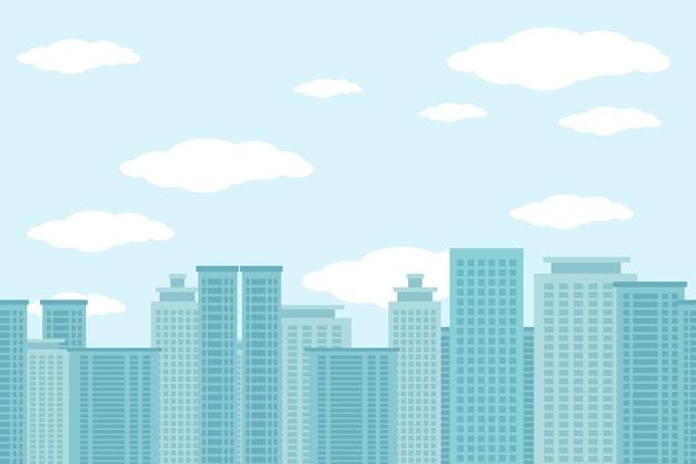雲と青い空と高層ビルのイラストの街 無料ベクター