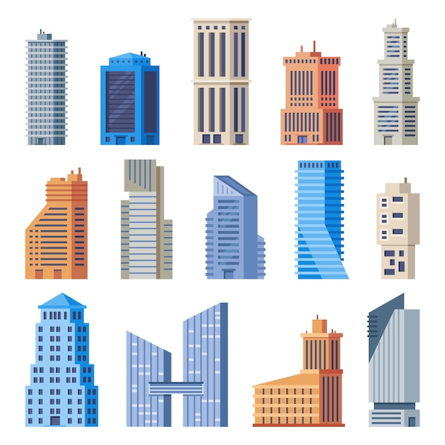 City office buildings. glass building, modern urban offices exterior and town tall houses isolated  set Premium Vector
