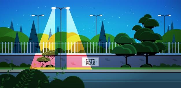 City park banner on fence beautiful night landscape background horizontal Premium Vector