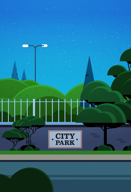 City park banner on fence beautiful night landscape background vertical Premium Vector