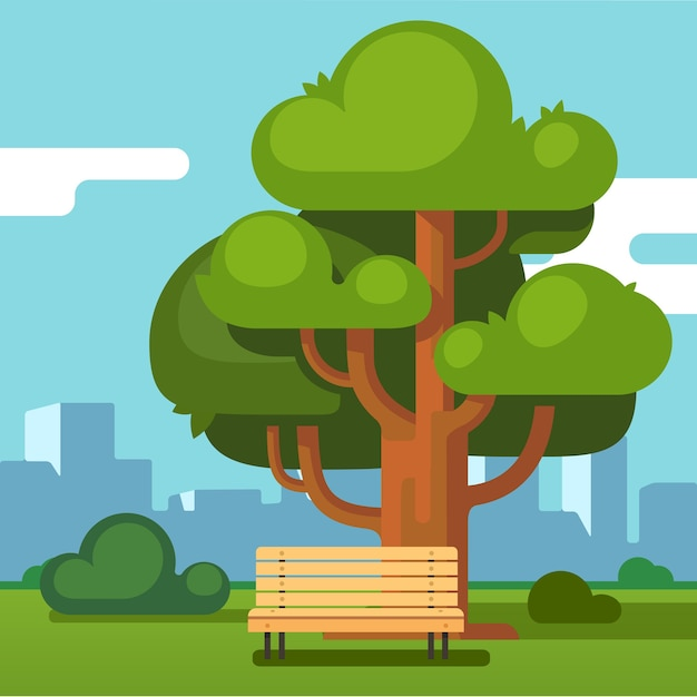 City park bench under an oak with urban landscape Free Vector