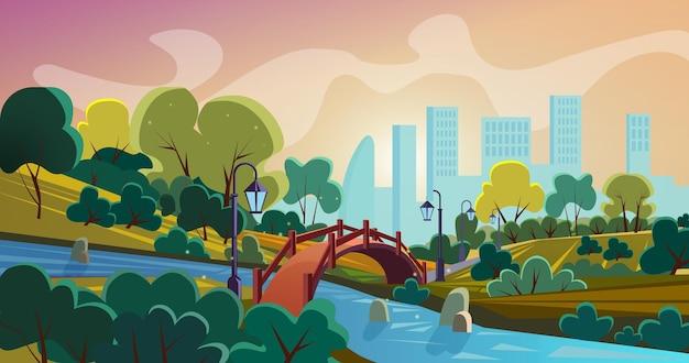 川の上の古いスタイルの橋と地平線上の高層ビルと都市公園の漫画のパノラマ Premiumベクター