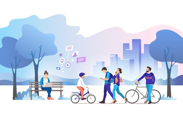 City park illustration Premium Vector