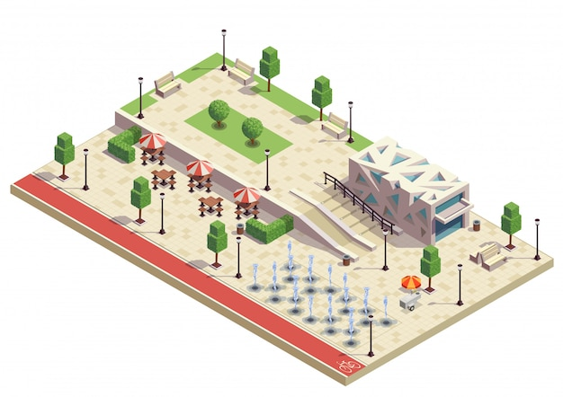 City park infrastructure facilities isometric composition with dry fountains outdoor cafe furniture modern public building Free Vector
