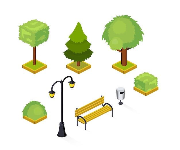 都市公園等尺性イラストパック、都市の庭、公共の場所分離3 dデザイン要素、緑、緑豊かな木々や茂み、生垣、街路灯、街灯、木製ベンチ、ゴミ箱 Premiumベクター