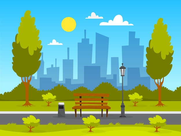 City park landscape. green grass, bench and trees Premium Vector