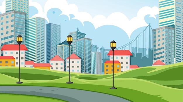City in park scene Free Vector