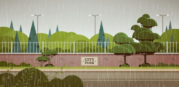 City park sign board on fence rain drops falling rainy summer day landscape background horizontal Premium Vector