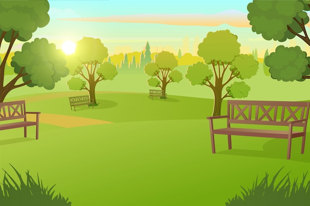 City park or square with trees on meadow vector Premium Vector