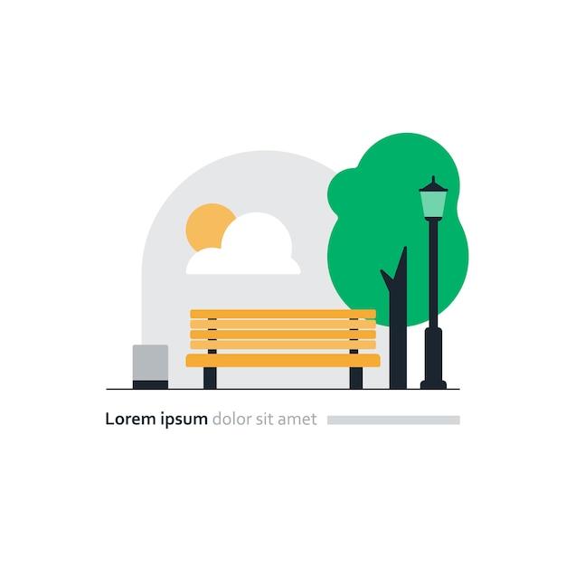 都市公園のベクトル図、正方形の黄色いベンチ Premiumベクター