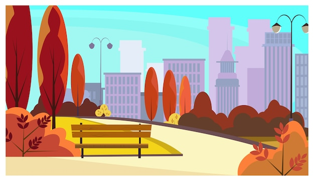 City park walkway with autumn trees, bushes, benches, lanterns Free Vector