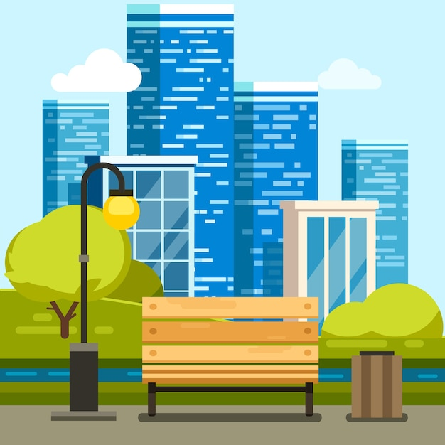 City park with bench and downtown skyscrapers Free Vector