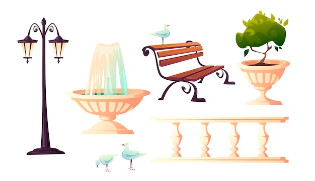 City park with fountain, bench and gulls Free Vector