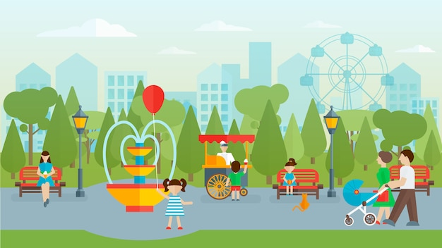 City park with people flat design Free Vector