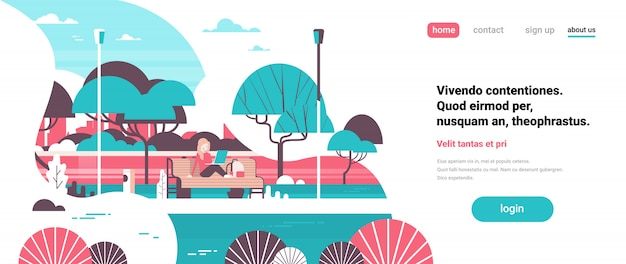 City park woman holding laptopn sitting wooden bench streel lamps trees river landscape background banner copy space flat Premium Vector