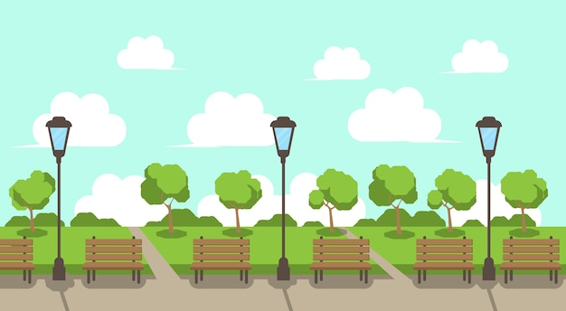 City park Premium Vector