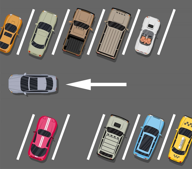 City parking lot with different cars Premium Vector
