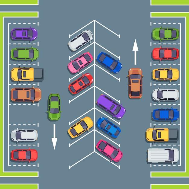 City parking top view. park spaces for cars, car parking zone  illustration Premium Vector