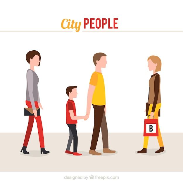 City people collection Free Vector