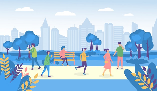 City people walking park or street and park  illustrations, woman man characters in outdoor activity Premium Vector