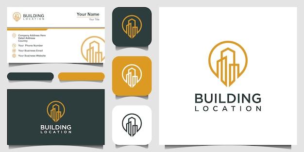 City pin logo design element. logo design and business card. Premium Vector