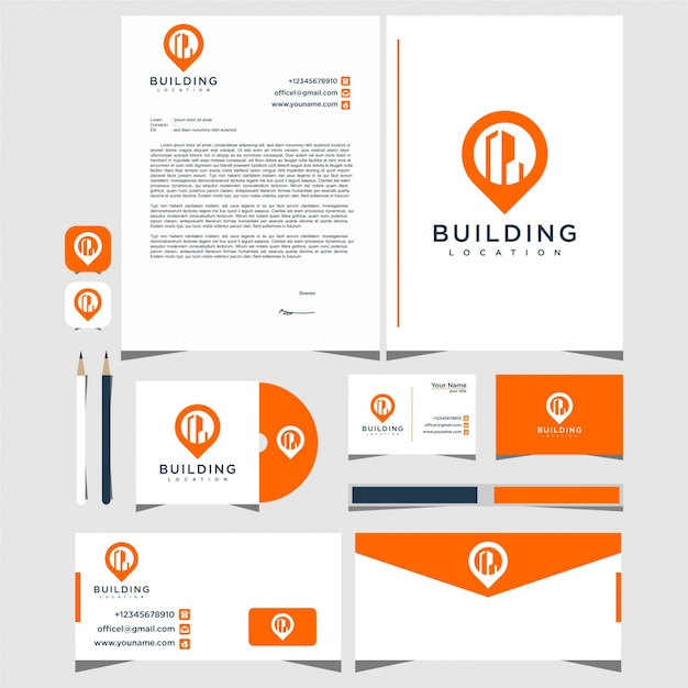City pin logo design with stationery Premium Vector
