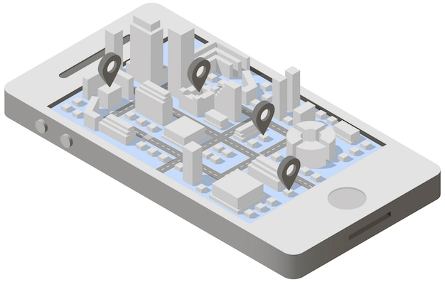 City plan isometric on smartphone Premium Vector